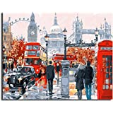 Leezeshaw Diy Oil Painting, Paint By Number Kits Home Decor Wall Pic Value Gift - Building England Red Bus Street 16x20 Inch