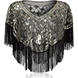 Ladiery Women's 1920s Sequined Shawl With Tassel Flapper Cover Up, Fringed Sheer Wraps Bolero Evening Gatsby Cape