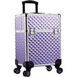 Stagiant Aluminum Rolling Makeup Train Case Large Organizer Cosmetic Trolley 4 Tray Sliding Rail Removable Middle Layer with