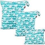 Damero 防水バッグ オムツポーチ 3点セット かわいい 多機能 オムツ 着替え 水着 お風呂用品 タオル 食事セッ…