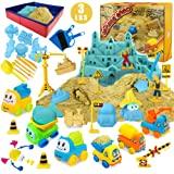 Play Construction Sand Kit - 3lbs Sand with 2 Colors, 6 Mini Construction Trucks, Construction Toys and Signs, Animal Mold, M