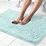 ITSOFT Non-Slip Shaggy Chenille Soft Microfibers Bathroom Rug with Water Absorbent, Machine Washable, 21 x 34 Inch Spa Blue