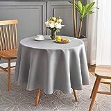 "maxmill Phoenix Table Cloth, Polyester, Light Grey, Round 70"""