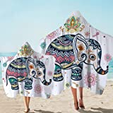 Sleepwish Hooded Elephant Towel Bohemian Towel with Hood Wearable Towel Bath Wrap Towel Hooded Beach Towel (White,Kids and Ad