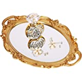 """(Gold) - Moseley Polyresin Ellipse Antique Decorative Mirror Tray, Makeup Organiser, Jewellery Organiser, Serving Tray, 9.8""""x"""