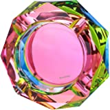 Kaforise Crystal Outdoors Indoors Cigarette Ashtray Ash Holder Case, Colorful Pattern Home Office Tabletop Beautiful Decorati