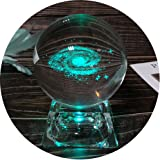 3D Galaxy Crystal Ball Night Lamp Clear 80mm (3.15 inch) Galaxy Glass Ball with Colorful LED Base Best Birthday Kids Teacher