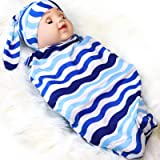 Newborn Swaddle Sack with Baby Hat Sleeping Sack Soft Stretchy Cotton Newborn Photography Prop for 0-3 Months Baby Girls Retr