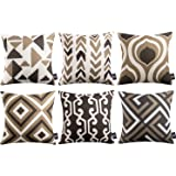 Phantoscope Set of 6 Geometric Pattern Double Side Print Decorative Throw Pillow Case Cushion Cover, Coffee, 18 x 18 inches 4