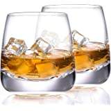 TOOWELL Old Fashioned Whiskey Glass Set of 2 Cocktails Glasses Hand Blown Scotch Glass Tumblers Heavy Base 9OZ Rocks Glasses
