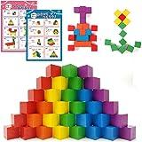 SneeperZ つみき 積み木 知育玩具 図形キューブ 知育 ランキング 100個セット説明書付き