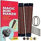 Hawwwy 2-Piece Hair Bun Maker +Bonus Hair Ties and Bobby Pins, Easy Fast Snap Roll Original Magic Bun Tool, Donut Perfect Fre