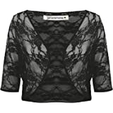 Janisramone Womens Ladies New Floral Lace See Through 3/4 Sleeve Bolero Cardigan Cropped Shrug Top