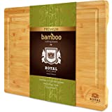 XXL Bamboo Cutting Board for Kitchen with Juice Groove - Best Wooden Chopping Board for Meat, Vegetables, Fruit and Cheese |