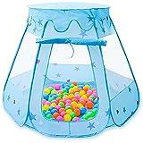 キッズテント お城 ボールハウス 折りたたみ式 室内遊具 子供 幼児 ベビー用 室外 ボールプール テント ブルー