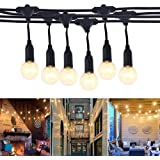 Outdoor String Lights 65.5 Ft Waterproof IP65 Festoon String Light 20 Hanging Sockets with 24 Bulbs Warm White for Party Pati