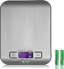 Eteki キッチンスケール デジタル 高精度 1gから5kgまで計量可能 おしゃれ 強化ガラス面で掃除しやすい計量器(電池付属)