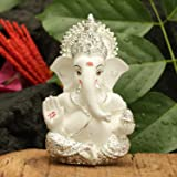 CraftVatika Silver Plated Lord Ganesha for Car Dashboard Statue Ganpati Figurine God of Luck & Success Home Decor Gifts (Size