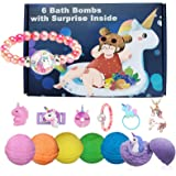 Kids Bath Bombs with Surprise Inside Unicorn Gifts Box for Girls with 6 Toys Necklace Bracelet Hair Rope Pen Natural Fruit Ar