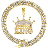 HH Bling Empire Mens Iced Out Hip Hop Silver Gold Plated Diamond King Crown Pendant Tennis Chain Necklaces
