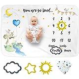 LUKA&LILY Baby Monthly Milestone Blanket Boy, Elephant Milestone Blanket Baby Boy, Baby Monthly Milestone Blanket Girl, Baby