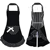 Hyzrz Cute Girls Bowknot Funny Aprons Kitchen Restaurant Women's Cake Apron with Pocket