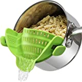 Geniusidea Upgraded Clip on Pot Strainer Silicone Colander Heat Resistant for Pasta Grease Vegetable Fruit Fits Most Pans Bow