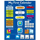 """Fridge Magic Magnetic my First Learning Calendar. Rigid board 16"""" x 13"""", 40 x 32cm with hanging loop. Move magnets daily to s"""
