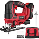 Meterk Jigsaw, 20V Cordless Jig Saw for Woodworking with LED, 4 Orbital, Variable Speed,±45°Bevel Angle,10PCS Blades,Scale Ru