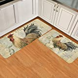 2 Piece Kitchen Mats Cushioned Anti Fatigue Chicken Cock Rooster Waterproof Non Slip Kitchen Rugs Washable Indoor Outdoor Vin