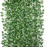 2.3米フェイクグリーン 人工観葉植物 藤 緑 壁掛け 葉 グリーン インテリア 飾り ホーム オフィス ベランダ ガーデン 吊り 植物装飾 パーティー 装飾 12本