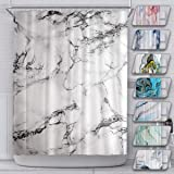 Marble Durable Mildew Resistant Shower Curtain for Bathroom with 12 Hooks Polyester Fabric Machine Washable Waterproof Shower