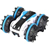 Tobeape Waterproof RC Car, 2.4Ghz 4WD Stunt Car Remote Control Amphibious Off Road Electric Race Cars with 2 Sides Tank Vehic