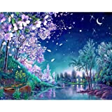 DIY Paint by Numbers Kit for Adults - Blue Night Nature On Canvas for Beginners | Home Wall Decor | Pre-Printed Art-Quality C