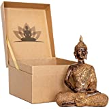 Thai Meditation Buddha Statue Small 8 Inch | Premium in Gift Box - Buddha Statues for Home. Rustic Bronze Look Buddha Statues
