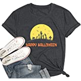 Happy Halloween Printed T-Shirt Halloween Costume Funny Tees Shirt Letters Print Short Sleeve Graphic Tee Tops Blouse
