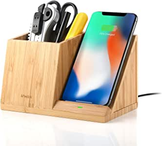 Veelink ワイヤレス充電器 ワイヤレス充電スタンド デスクオーガナイザー付 アイホンワイヤレス急速充電 ワイヤレスチャージャー ペン立て Qi対応 qi スタンド ペン 小物入れ リモコンスタンド付 ウッド調 卓上収納ケース 机上多機能収納ボックス 高品質 高級感 木目調 木製 iPhone11/11 Pro/11 Pro Max/X/XS/XR/8, Galaxy Note10/8/Note9/S9/S8 Plus, Nexus4/5/6, Sony SZ2/Xperia XZ3, HUAWEI Mate 20 proなどQI機種対応