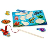Melissa & Doug 3778 Magnetic Wooden Fishing Game and Puzzle with Wooden Ocean Animal Magnets, 10 Pcs