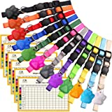 Upgraded Puppy Collars for Litter Puppy ID Collars Whelping Supplies Soft Nylon Breakaway Coloured Collars with 12 ID Tags an