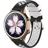 XIHAMA For Nokia Withings スチール hr Watch Band 18MM 交換ベルト 防水 運動型 シリコーンゴム 腕時計 ストラップ 替えバンド (黒/白)