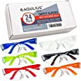 24 Pack of Safety Glasses (24 Protective Goggles in 6) Crystal Clear Eye Protection - Perfect for Construction, Shooting, Lab