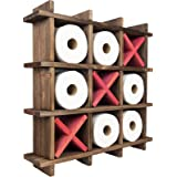 Excello Global Products Rustic Wooden Toilet Paper Holder: Tic Tac Toe Design for Wall Mounted or Freestanding Bathroom Tissu