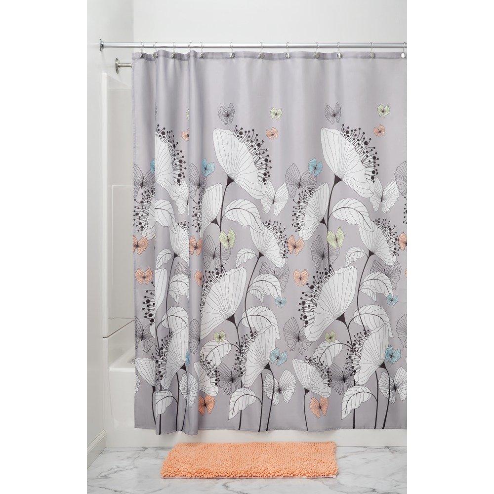 花柄 プリント シャワーカーテン 布製 Alice 183cm x 183cm パステル マルチカラー 49020EJ