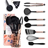 Black and Copper Cooking Utensils with Stainless Steel Copper Utensil Holder - 16-Piece Set Includes Black and Copper Measuri