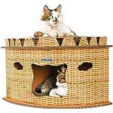 【 すぐ届く 】iikuru キャットハウス ダンボール 猫 ハウス キャットタワー 爪とぎ 猫用 家 子猫 ドーム型 ベッド ペット用 ねこ ペットハウス 爪とぎベッド 春 夏 秋 用 x809