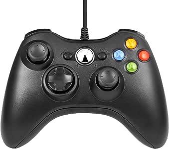 USB コントローラー,Diswoe ゲームパッド Microsoft Xbox&Slim 360 PC Windows 7適用 (ブラック)