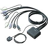 エレコム KVMスイッチ hdmi usb 切替器 スピーカー 手元スイッチ 2台 KVM-HDHDU2