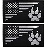 IR K9 Dog Handler Paw K-9 USA Flag Infrared Tactical Morale Embroidered Patch Applique with Hook and Loop Fastener Backing fo