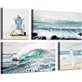 Beach Painting Seascape Wall Art: Ocean Picture Artwork Print on Canvas for Living Room Bedroom (32'' x 16'' x 2 Panels + 16'