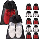 12 Pack Portable Shoe Bags for Travel Large Shoes Pouch Storage Organizer Clear Window with Drawstring for Men and Women Blac